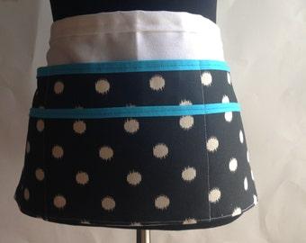 Utility Apron, Womens Vendor Apron, Teacher Apron, Carpenter Apron, polka dot apron, black and teal apron, black apron, gray polka dot apron