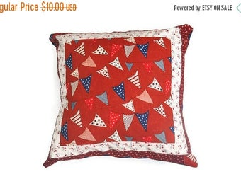 ON SALE Patriotic pillow, Stars and Stripes pillow, Nautical throw pillow cover, Red, white and blue pillow,  July 4th decor, Patriotic pill