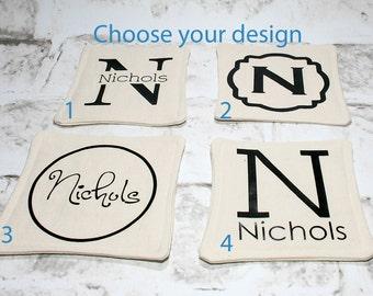 Monogrammed Coasters, Set of 4