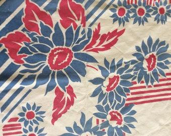 1940s Blue Cornflower Topper Tablecloth
