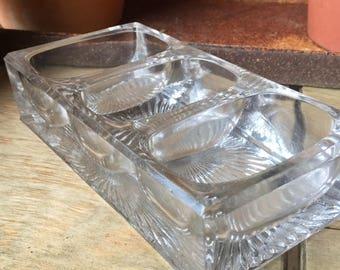 Vintage Cut Glass Triple Well Salt Dip, Solid Crystal