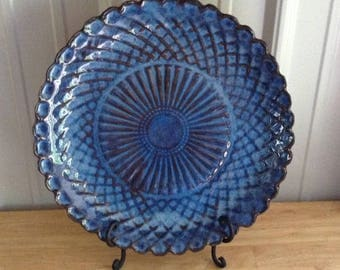 Bright Blue Large Plate or Platter Handcrafted Ceramic