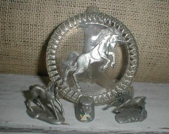 Pewter Unicorn Lot *Thimble*Plaque*Figurines*