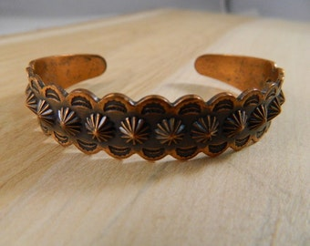 Vintage Copper Bracelet / Small Stamped Solid Copper Cuff / Thin Copper Bangle