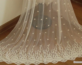 Ivory Tulle Embroidered Lace Fabric, Borders Lace Scalloped Edges, Bridal Wedding Lace Fabric, Dress Lace fabric 1/2 Yard W193