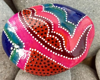 balancing act / painted rocks / painted stones / under the big top / rock art / paperweights / small art / hippie art / tribal art / rocks