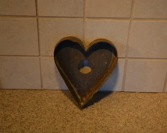 Primitive Hand Wrought Tin Heart-Shaped Cookie Cutter