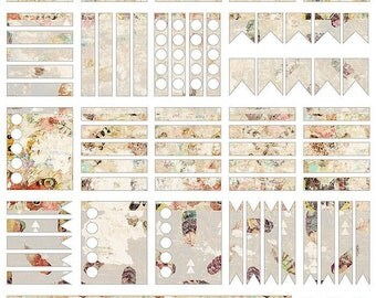 Printable Planner Stickers - Shabby Chic Vintage Botanical Butterfly - Erin Conrad