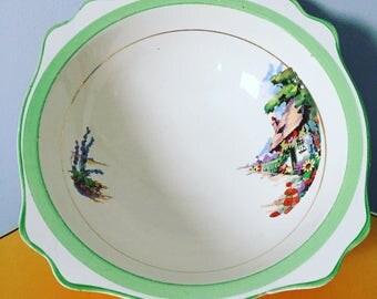 Vintage Green Floral Serving Bowl