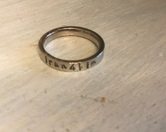 I run 4 rings. Runners and Buddies. Gift for runner. Stackable name ring. Mother's Ring. Stacker name ring.  Engraved ring