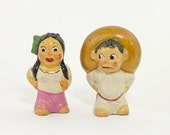 Vintage Mexican Salt and Pepper Shakers, Vintage Made in Mexico Pottery, Circa 1940