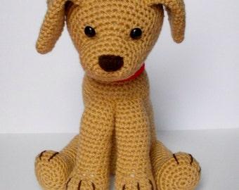 Golden brown dog, crochet, toy