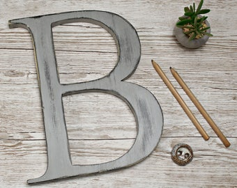 Rustic Wooden Letter B 12 inch, Handcut Wooden Letter B, Handcut Letter,