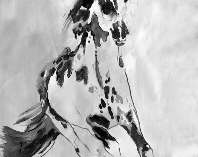 Wild Running Horse. Extra Large Contemporary Horse Black and White Canvas Original Oil/Acrylic Art. Horse BW Original Art by Irena Orlov