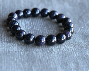 Blue Goldstone 10 mm Round Stretchy String Bracelet B49