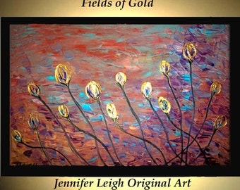 Original Large Abstract Painting Modern Contemporary Canvas Art Oil Painting Abstract Wall Art FIELDS of GOLD Floral Texturedl by J.LEIGH
