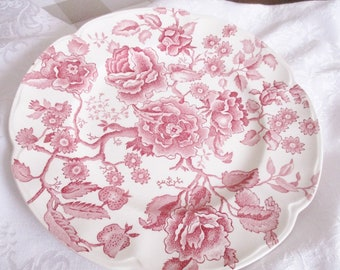 English Chippendale 10 inch dinner plate by Johnson Bros 1960s english ironstone, pink chintz pattern plate, excellent condition