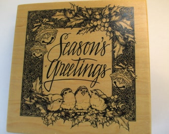 """Montage Collections Rubber Stamps Christmas """"Seasons Greetings"""" large stamp For cards and scrapbooking  new never used"""