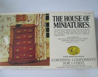The House of Miniature Furniture Kit Chippendale Chest on Chest open kit