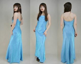 90s Baby Blue Iridescent Bias Cut Maxi Prom Dress S / M
