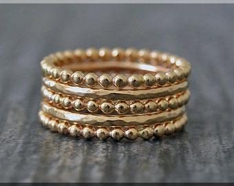 Set of 5 14k Gold Filled Full Bead Rings, Bubble Ring, Gold Stacking Ring, Gold Filled Hammered Stackable Ring, Dot Ring, Simple Dottie Ring