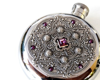 Round Flask Luxury Flask for Women Window Flask Mandala Flask Liquor Flask Women Victorian Flask Bridesmaid Gift  Vintage Style Accessories