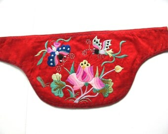 Vintage Chinese silk embroidery, floral design, red silk, 12 and 1 half inch by 5 and 1 qtr inch wide