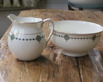 Aynsley vintage china milk jug and sugar bowl
