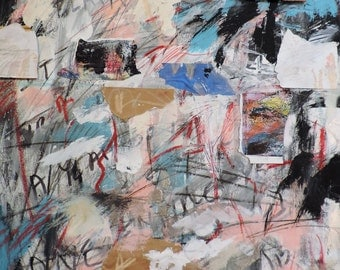 Year of Living Dangerously 2, 6-1-14  (abstract expressionist painting, black, white, blue, green, purple, cream, red, gold)