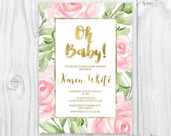 Greenery and pink rose baby shower invitation, green leaf, branch, gold foil