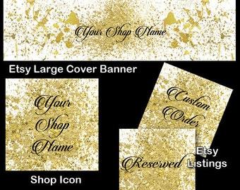 GOLD GLITTER SPATTER Complete Etsy Shop package, Gold Glitter Etsy Large Cover Set, Etsy Complete Set, Shop Icon, Etsy Shop Package, Elegant