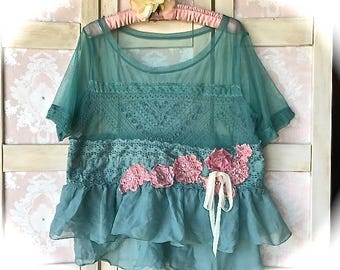 Sea Glass Cropped Top  Romantic Rag Roses and Rustic Chiffon