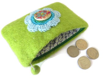 Lime Green Upcycled Wool Felt Purse - Felted Change Purse - Coin Purse - Coin Wallet