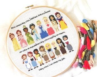 HALF OFF STOCK Up Sale Disney Princess Pixel People Cross Stitch Pattern - Girls Cross Stitch - Easy Cross Stitch Pdf