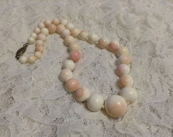 Queen Conch pink white shell early 1900's antique knotted graduating hand carved 15 inch beaded necklace with sterling silver hardware