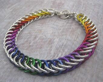 Rainbow Bracelet Chain Maille Aluminum Jewelry