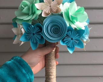 Bridal Bouquet - Paper Flowers - Kusudama - Made to Order, blue and pink wedding, bridal flowers, wedding bouquet, strips, origami
