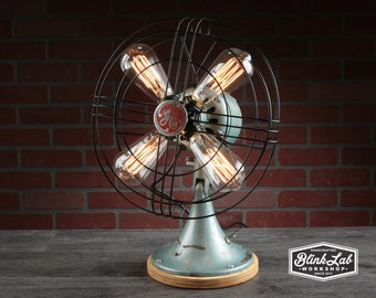 A Fan-tastic Lamp V4.0, Fan Light, Upcycled, Repurposed, Rustic-Industrial, Hand-Made, Table-Lamp, Home-Decor, Steampunk, Vintage, Lighting