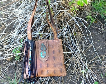 Limited Edition Eternal Perspective Congac Gator Tote with real turquoise