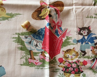 mother goose novelty print vintage cotton fabric -- 60 wide by 66 inches long