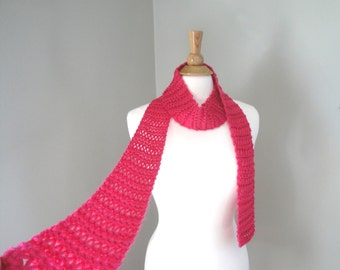 Skinny Knit Scarf, Bright Hot Pink Thin Scarf, Bold Pink, Pop of Color, Knitted Accessory, Women & Teen Girls Spring Fashion
