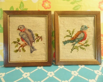 Vintage Framed Needlepoint Bird Wall Hangings  - Set Of 2