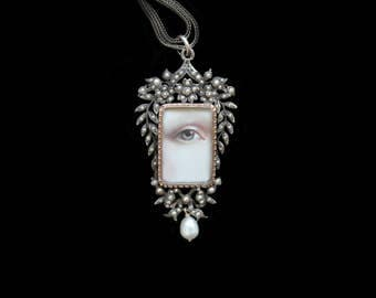 Sandra Hendler Original Hand Painted Lover's Eye in Amazing ( Rare) Edwardian Pearl Encrusted Gold & Silver Locket