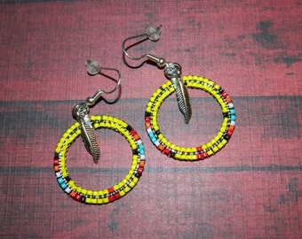 "Native American Yellow 1-1/4"" Beaded Hoops"