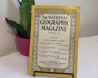 Vintage Magazine, February 1928, National Geographic, free shipping US & Canada