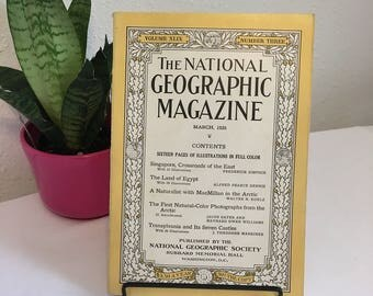 Vintage Magazine, March 1926, National Geographic, free shipping US & Canada