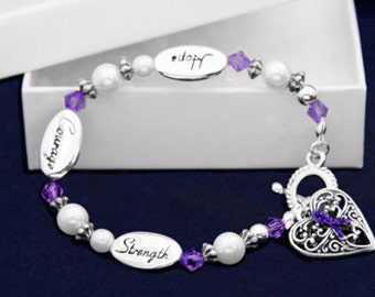 Purple Hope courage Strength Ribbon Bracelet Lupus Support Awareness Domestic Violence