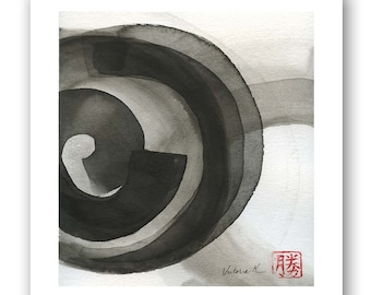 """Original black on white ink wash painting, zen minimalism, ink on watercolor paper 8""""x10"""" with 1"""" border"""