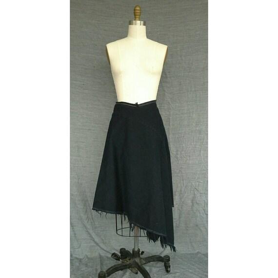 Archival Comme des Garcons Overdyed Raw Seam Asymmetrical Denim Skirt