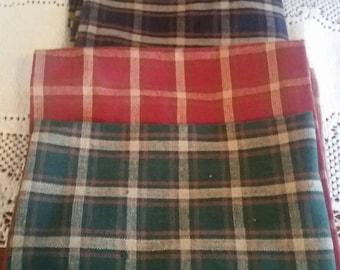 Vintage plaid  tea towels, burgundy, green, navy. 100% cotton.